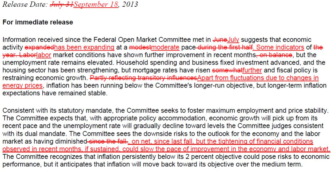 FOMC Statement Comparison